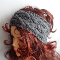 Handmade Knit Cable Headband Plait Dark Gray Knitted Headband Hand knit headband, head wrap, ear warmer  GRAY accessories handmade