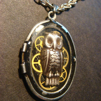 Upcycled Locket Necklace with Owl and Gears set in Ice Resin (831)