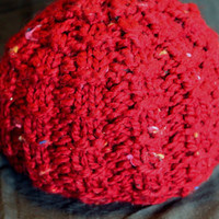 Waffle Knit Red Infant Beanie Ready to Ship by SunshineRoseDesign