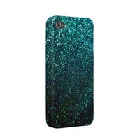 Blue/Green Glitter iPhone Cover Iphone 4 Case from Zazzle.com