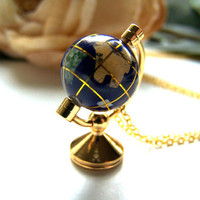 the world on a string necklace by barberryandlace on Etsy