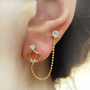 Rhinestone crown double-pierced ears stud earring