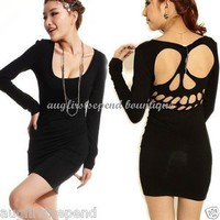 Womens Skull Backless Long Sleeve Sexy Low neck Cocktail Party Mini Dress Black