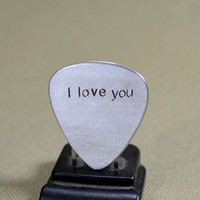 I love you aluminum guitar pick