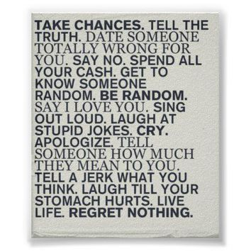 Take Chances Poster from Zazzle.com