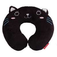 Black Cat Soft U Neck Rest Car Office Travel Pillow Gif