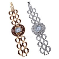 Unique Full Rhinestone Eye Link Bracelet Watch at online fashion jewelry store Gofavor