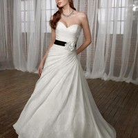 White Ruched Chiffon Over Chantilly Lace Strapless Sweetheart A Line Wedding Gown - Unique Vintage - Cocktail, Evening & Pinup Dresses