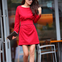 Graceful Red Dress Long Sleeve Knee Length Dress Sping Tunic - NC345