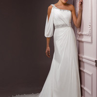 Ivory Chiffon Grecian Jewel One Shoulder Lindly Wedding Dress - Unique Vintage - Cocktail, Evening &amp; Pinup Dresses