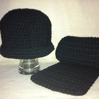 Back In Black Simple black hat and scarf by HookinItbyBellaBeanz