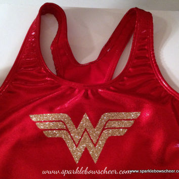 Woman Wonder Super Hero Metallic Sports Bra Cheerleading