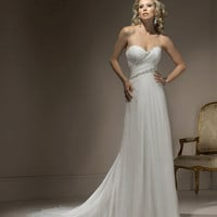 2012 Maggie Sottero Bridal - Ivory Chiffon Gathered Strapless Sweetheart Penny Wedding Gown - 0 - 28 - Unique Vintage - Cocktail, Evening &amp; Pinup Dresses