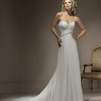2012 Maggie Sottero Bridal - Ivory Chiffon Gathered Strapless Sweetheart Penny Wedding Gown - 0 - 28 - Unique Vintage - Cocktail, Evening & Pinup Dresses