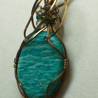Russian amazonite wire wrapped pendant by poshandplayful on Etsy