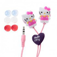 Cute 3.5mm Multi-function Cartoon Hello Kitty In-ear Headphones/ Earphones/ Headsets with 3 Pairs of Earbud (Pink) Hot Sale At Wholesale Price - Gadgetsdealer.com