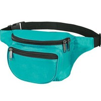 Fantasybag 3-Zipper Fanny Pack-Teal, FN-03