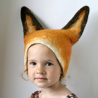 Fox Hat Hand Felted Wool Size Medium/Large by vaivanat on Etsy