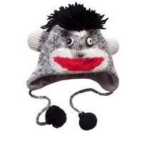 Amazon.com: ANIMAL FACE HAT WITH FLAP EARS AND POMS The Collection Royal GRAY MONKEY Winter Ski Hat Cap ADULT Warm Gift Cute: Everything Else