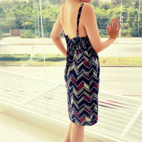 Augusta Low Back Graphic Print Sleeveless Dress