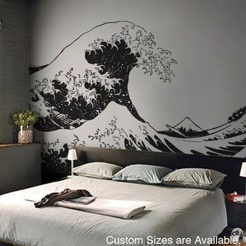$155.00 Vinyl Wall Decal Sticker Japanese Great Wave by Stickerbrand