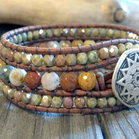 Snakeskin Agate Beaded Leather Cuff Bracelet, Southwest Chic, Beaded Leather Wrap Bracelet, Gemstone leather bracelet, Southwest Jewelry