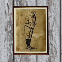 Vintage baseball player art print Antique paper Antiqued decor