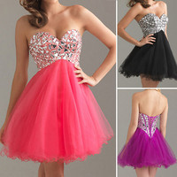 Bridesmaid Cocktail Formal TUTU Short Mini Gowns Prom Evening Party Ball Dresses