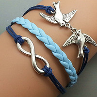 Silver Birds  &amp; Infinity wish  Bracelet  Navy Ropes by Haoyou