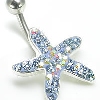 14g 7/16&quot; Crystal Explosion Starfish of the Seas Belly Ring