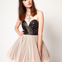 Thirty Four Disciples Stud Faux Leather Prom Dress at asos.com