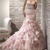 2013 Elegant Sweetheart Wedding Dresses Organza Tulle Bridal Ball Gown*Custom