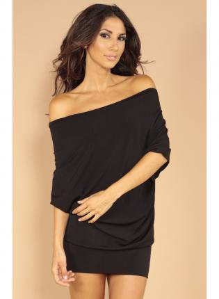 Black Sexy Dress - Wide neck jumper dress | UsTrendy