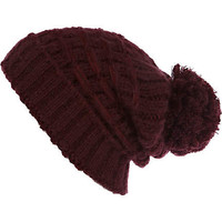 Purple basket weave beanie hat