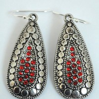 Red and Silver Dangle Pendant Earrings - Valentines Day Gift from TheSilverJewelryBox
