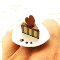 Kawaii Valentine Ring Gourmet Chocolate Mint by SouZouCreations
