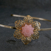 Gold Filigree Headband Pink Sleeping Beauty by gazellejewelry