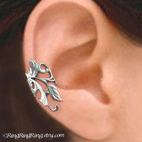 925 Poppy Flower Leaf  Sterling Sliver ear cuff by RingRingRing