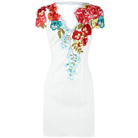 Multi Cocktail Dress - Bqueen Floral Shift Dress Ivory | UsTrendy