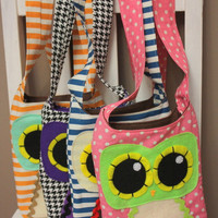 Owl Mama Crossbody Bag  Pink Polka Dot by Needlings on Etsy