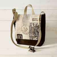 READY TO SHIP Messenger bag /Travel bag /Rucksack dark by ikabags
