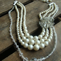 Vintage Glass Pearl, Crystal, Brooch &amp; Chain Necklace