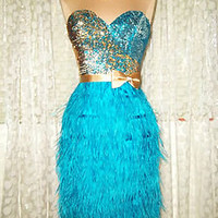 TERANI Y754 TURQUOISE FEATHER SEQUIN SHORT PROM PAGEANT FORMAL PART GOWN DRESS 2