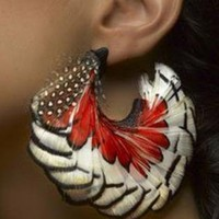 Red Earrings - The Miss. USVI Feather Earring- | UsTrendy