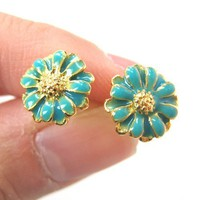 Small Floral Daisy Sunflower Flower Stud Earrings in Turquoise on Gold
