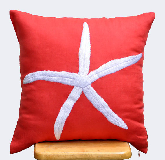 Starfish Decorative Pillow Cover, White from KainKain