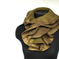 Felted Scarf Olive Felt Scarves Ruffled Wavy by FeltedPleasure