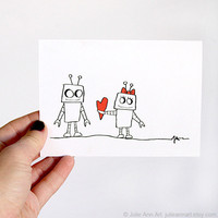 Valentine Card. I Love You Card. Girl Robot Love. Red, Black, White. Folded Handmade Card.