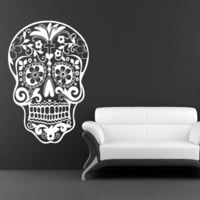 Sugar Skull Wall Decal dia de los muertos Vinyl Sticker Art Mexican Sugar Skull