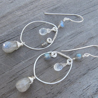 Labradorite Moonstone Earrings Silver Wire Wrapped by AListDesigns